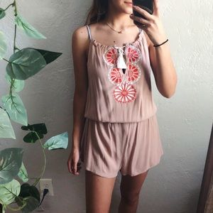 lulus barcelona beauty blush embroidered romper